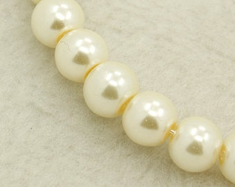"Ivory Glass Pearls 4mm Ivory Pearls Bulk Beads 4mm Beads 4mm Glass Beads 216 pieces Full 32"" Strand Vintage Style Beads Wholesale Beads"