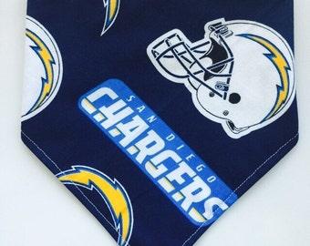 Chargers Fan - Bandana Style Bib - Reversible, Baby/Toddler Bib, Cotton Fabric, Bibdana, NFL Team, Chevron, football, San Diego, California
