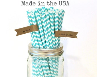 Aqua Paper Straws, Paper Straws, 25 Aqua Made in USA, Chevron Paper Straws, Vintage Wedding Rustic Baby Shower Princess Party Table Setting