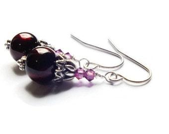 Red Earrings, Burgundy Earrings, Swarovski Beaded Surgical Steel Earrings, Pink Earrings, Ruby Red Earrings, Maroon Earrings