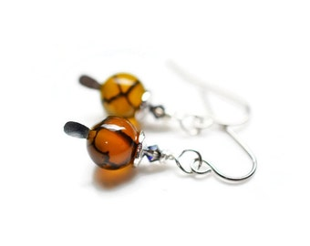 Agate Earrings, Olive Dragons Vein Agate Earrings, Swarovski Earrings, Steel Earrings
