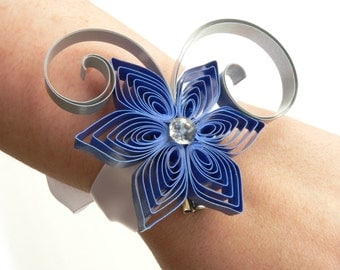 Blue Prom Bracelet, Royal Blue Wedding Wrist Corsage, Silver Corsage, Blue Prom Cuff, Blue Wrist Corsage Bracelet
