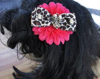 Olivia Paige - ROckabilly Leopard Tattoo skull flower bow for hair
