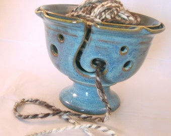 Yarn Bowl Handmade Pottery Tabletop Functional- Fibers Yarn Guide Knitting Crocheting - Gazed in Retro Blue with shades of brown and purple