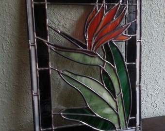 Digital Stained Glass Pattern - Bird of Paradise • Resale Friendly