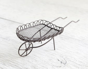 Fairy Garden Wheelbarrow - Miniature Rustic Metal Wire and Mesh Garden Cart