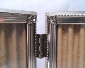 Brass 8 x 10 Double Table Frame 3 Line Border w/ Leaf Corner Mounts Vintage 40s #153