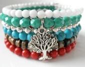 Memory Wire Bracelet in Turquoise Snow Jade Coral Jasper, Tree of Life Bracelet, Stacked, Boho Chic, Wrap Bracelet, Wide Cuff, Coil Bracelet