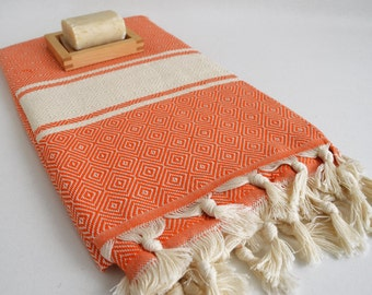 SALE 50% OFF Diamond Bathstyle Turkish BATH Towel Peshtemal - Orange - White - Bath, Beach, Spa, Swim, Pool Towels