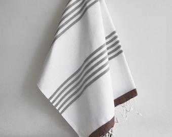 SALE 50 OFF/ Turkish Beach Bath Towel / Classic Peshtemal / Brown Gray White / Wedding Gift, Spa, Swim, Pool Towels and Pareo