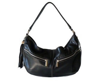 Perlina Black Leather Pocket Tassel Hobo Shouder Bag