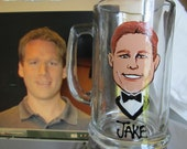 NINE  Wedding Caricature groomsmen  Portrait Beer Mugs Painted  Beer Glass Cartoon   Personalized  Caricature Wedding