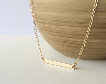 Gold Bar Necklace, Skinny Bar Necklace
