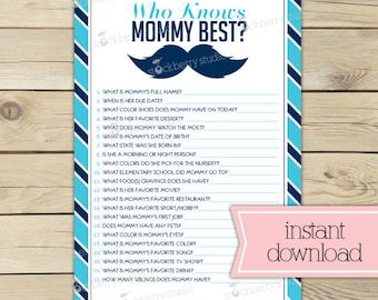 Little Man Baby Shower Who Knows Mommy's Best Game Printable - Mustache Baby Shower Game - Instant Download -  Blue Navy Blue