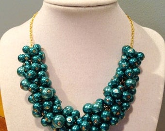 Teal Pearl Gold Statement Necklace
