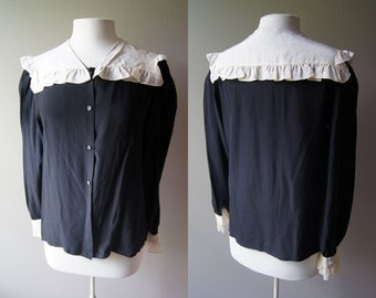 Vintage 70's Neiman Marcus Blouse Sailor Neck blouse Nautical Blouse Silk Blouse  Black and White Large Jack Mulqueen Top Neiman Marcus Top