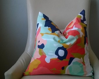 Designer Fabric coral white mint green navy blue pink abstract pillow cover euro sham 16 18 20 22 24 26 cushion nursery lumbar