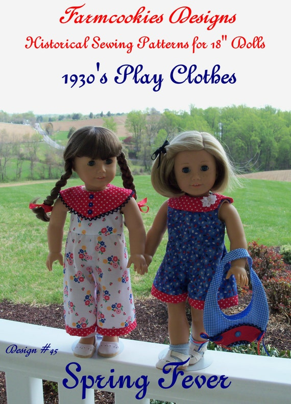 "PDF Sewing Pattern / SPRING FEVER Historical 1930's Playclothes for American Girl ® or Other 18"" Dolls"