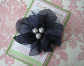 Hair clips - black flower hair clip - barrettes for girls