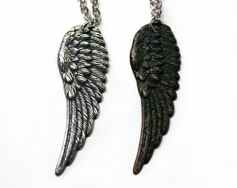 2 for 1 Angel Wing Necklace Set - Black and Silver