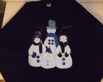 2X-Large Adult Sweatshirt - Snowmen on navy blue
