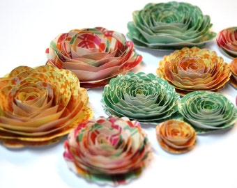 Handmade Rose Spiral Paper Flowers in Pink, Seafoam Green, and Orange