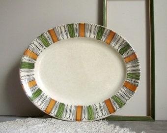 Kathie Winkle Platter / Ironstone Serving Plate / Broadhurst Viscount Pattern / Mid Century Modern 1960s Decor