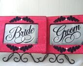 Wedding Signage Antiqued Mirror Set Vintage Style Shabby Chic Red Black Decoration Bride Groom