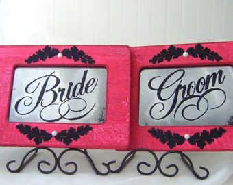 Wedding Signage Antiqued Mirror Set Vintage Style Shabby Chic Red Black Decoration Bride Groom