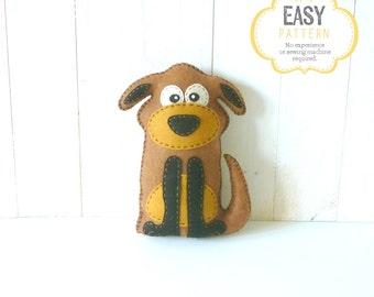 Dog Stuffed Animal Sewing Pattern, Stuffed Dog Felt Plushie Pattern, Dog Softie Pattern, Plush Dog Pattern