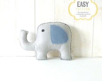 Elephant Stuffed Animal Sewing Pattern, Plush Elephant Pattern, Felt Elephant Sewing Pattern, Elephant Softie Stuffie