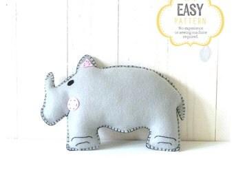 Rhinoceros Stuffed Animal Sewing Pattern, Plush Rhino Pattern, Felt Rhinoceros Sewing Pattern, Rhino Softie, Rhino Stuffie