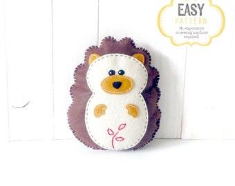 Hedgehog Sewing Pattern, Felt Hedgehog Plush Softie, Woodland Hedgehog Pattern, Stuffed Hedgie, Instant Download