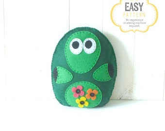 Stuffed Turtle Sewing Pattern, Felt Turtle Plush Softie, Woodland Turtle Pattern, Turtle Plushie, Turtle Stuffie
