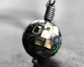 Nebula Necklace - Abalone Pendant Necklace, Iridescent Rainbow Abalone Shell Mosaic Oxidized Sterling Silver Necklace