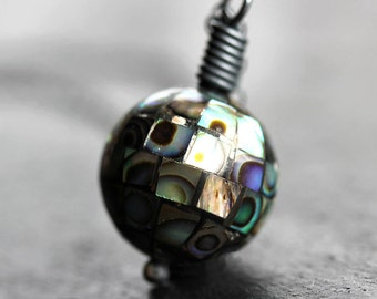 Nebula Necklace - Abalone Pendant Necklace, Iridescent Rainbow Abalone Shell Mosaic Oxidized Sterling Silver Necklace