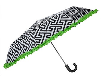 Umbrella in Greek Key with Lime Ruffle