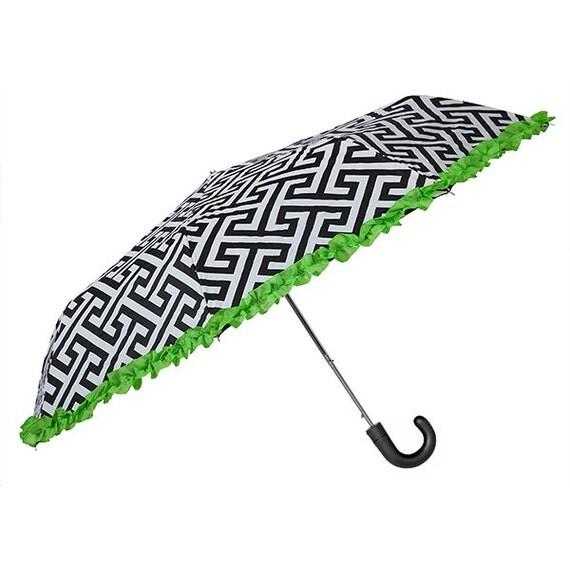 Umbrella in Greek Key with Lime Ruffle
