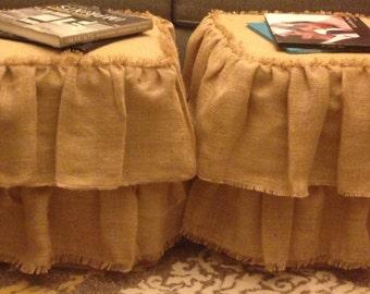 Burlap ottoman cover