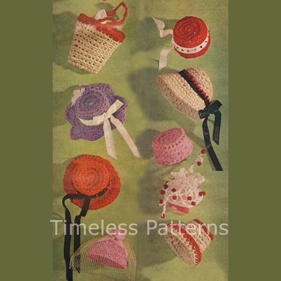 Vintage Barbie Fashion Doll Hats & Bags Crochet Reproduction