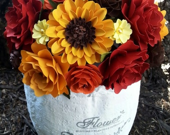 Paper Bouquet - Fall Wedding Bouquet - Bridal Bouquet - Paper Flowers - Custom Made - Any Color