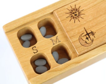 Day and Night Single Weekly Pill Box, Medium Depth, Solid Cherry Hardwood Top and Bottom, Medication Box, Paul Szewc