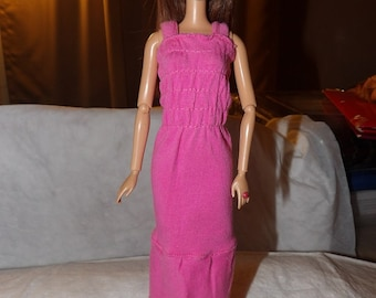 Rousched top knit dress in hot pink for Fashion Dolls - ed665