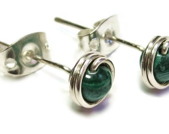 Malachite and Sterling Silver Wire-Wrapped Stud Post Earrings
