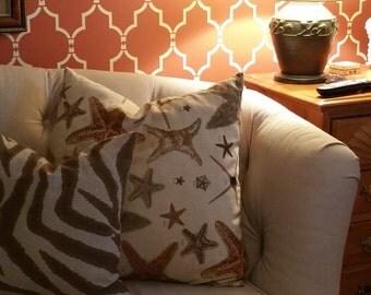 starfish Design Legacy linen pillow cover orange, brown, natural linen