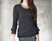 Black top women/Long sleeve ruffle/Knit top casual/Blouse shirt dressy casual