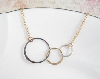 Mixed Metal Three Circle Necklace GOLD Filled Chain | Triple Circle Necklace | Mixed Metal Three Eternity Circle Necklace | Entwined Circle