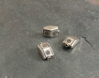 Sterling Silver Slider Bead, Thai Silver Bead, Handcrafted Silver Bead, 1 Bead, Hand Stamped Silver