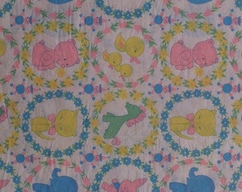 Vintage Bunnies Elephants Ducks Kitties Baby Shower Gift Wrap Wrapping Paper