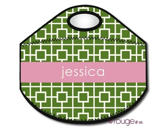 SQUARES monogrammed lunch tote - with customizable pattern and monogram